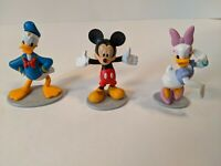 "Donald Daisy Duck Mickey Mouse Set of 3 Disney Figurines 3"" Tall Topper PVC lot"