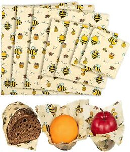Organic Beeswax Food Wraps - Reusable Beeswax Paper Wrap (Bees / Leaves 7 Wraps)