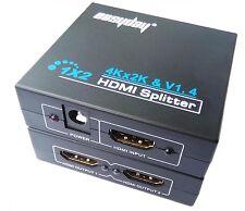 HDMI 1 In 2 Out Splitter Amplifier Duplicator Full HD 4K 2K 3D V1.4 DVD HDTV