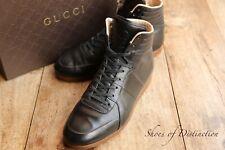 Men's Gucci Black Leather Hi Tops Boots Trainers Sneakers UK 6 US 7 EU 40