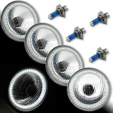 "5-3/4"" Stock Style H4 Light Bulb Headlight w/ White SMD LED Angel Eye Halo Set"