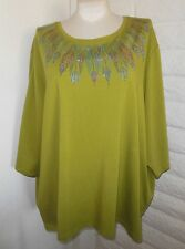 Catherines 5XWP Green Sparkly Jewels 3/4-Sleeve Tunic Shirt Tee Top Plus Size