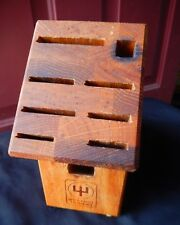 Wusthof Trident Solid Oak Wood Knife Block Storage 9 Slot Scissor Steel Chef