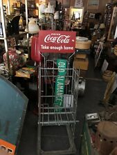 VINTAGE 2 Sided coca-cola Take Enough Home Sign With Rack