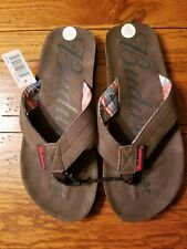 NWT Mens Budweiser Flip Flops Sandals Brown Beachwear Faux Leather Size S 7/8