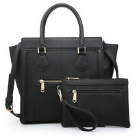 Womens Winged Faux Leather Handbag Satchel Shoulder Bag Purse w/ Matching Wallet