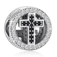 1pc Silver cross CZ European Charm Beads Fit 925 Necklace Bracelet Pendant Chain