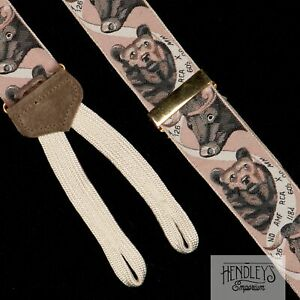 "TRAFALGAR Suspenders in Blush Pink ""Bulls & Bears"" Stock Market Ltd Ed USA"