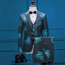 Men Dark Green Floral Wedding Suit Groom Tuxedos Prom Party Dinner Suit Custom
