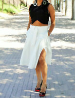 ZARA WOMAN WHITE KNEE LENGTH PLEATED SKIRT WITH BELT SIZE S,M