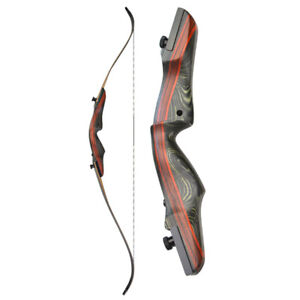 """62"""" Takedown Recurve Bow 20-50lbs Archery Right Hand 17"""" Riser Wooden Hunting"""