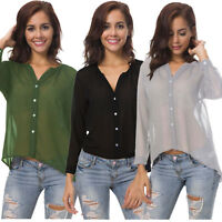 Women's Casual Button Down Shirt Blouse Long Sleeve V Neck Sheer Chiffon Top