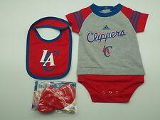 NBA Los Angeles Clippers Genuine Adidas Infant 3 Piece Creeper Bib & Boots Set