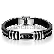 Greek Key Pattern Mens Stainless Steel Clasp Black Silicone Wristband Bracelet