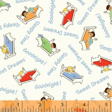 Storybook Sleeptime Cream Sweet Dreams 50006-1 Fabric by the 1/2 yard kids beds