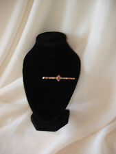 9ct Gold Brooch with pink stone, antique brooch in original box