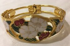 Genuine Cloisonné, Enamel & Gold Tone Hinged Clamper Bangle.New.lovely