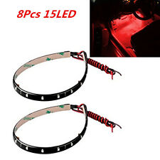 8 Pcs Red Super Bright 15LED 30CM Car Motorcycle Grill Flexible Light Strip New