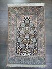 Beautiful old antique decorative India Kashmir  silk rug 4.06x2.52 ft