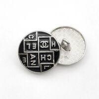 """MINT!!!! Chanel Black Enamel CC Logo Silver Tone Metal Button 3/4"""""""