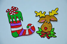 CHRISTMAS XMAS STOCKING & REINDEER SEW IRON ON  PATCH BADGE EMBROIDERY APPLIQUE