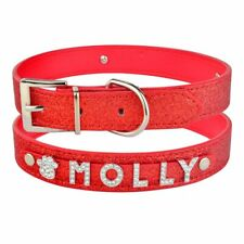 Leather Personalised Dog Collar Diamante Charms Bling Name ID Boy Girl Puppy Pet