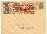 """DT.REICH """"ERSTE INTERNATIONALE EINFUHR-MESSE FRANKFURT A/M 1-15.OKTOBER 1919"""" GU"""
