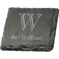 Personalized Laser Engraved SLATE COASTERS, Set of 4, Great Wedding Gift!