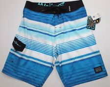 NWT MENS 30 MAUI AND SONS UNLINED BLUE STRIPED SWIM BATHING SUIT TRUNKS SHORTS