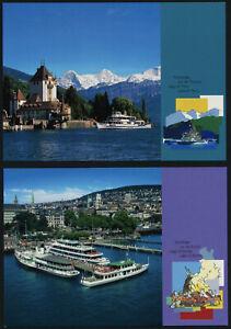 Switzerland 2003 prepaid Postcards - FDC - Lake of Thun, Lake of Zurich, Boats