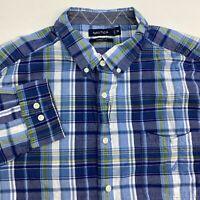 Nautica Button Up Shirt Men's 2XL XXL Long Sleeve Blue Plaid Classic Fit Cotton