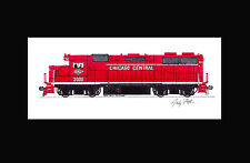 """Chicago Central GP38 11""""x17"""" Matted Print Andy Fletcher signed"""