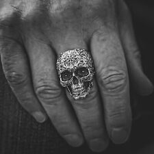 Solid 925 Sterling Silver Skull Ring, Biker Gothic Rock Ring, Mens Silver Ring