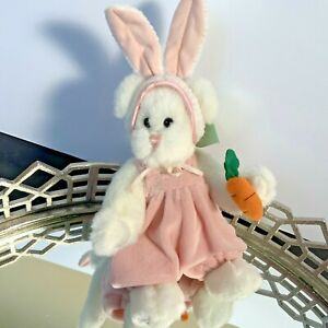 """Russ Berrie Plush Bunny Babette 8"""" Tall White Fur Pink Jointed Rabbit NOS #N1"""