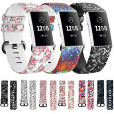 Fitbit Charge 3 4 Replacement Sport Band Floral Strap Silicone Wrist Watch Bands