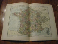 Nice Antique Map of France c. 1895 Johnston
