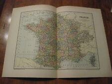 Nice Antique Map of France c. 1895 Johnston