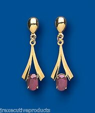 Ruby Earrings Yellow Gold Drop Earrings Natural Ruby Drop Earrings