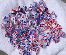 30 MED Patriotic July 4th Dog Bows  Grooming Bows Top Quality ribbons Handmade