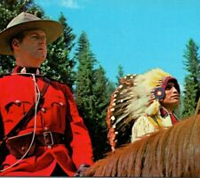 Canadian Indian Chief and Royal Mounted Police Officer Canada Vintage Postcard