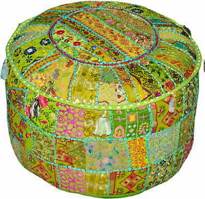 Indian Decorative Living Room Foot Stool Bohemian Chair Covers Handmade Pouffe