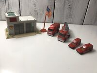 1995 Newray Fire Sation Four Cars New Ray With American Flag Used Condition