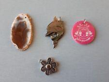 pendentifs pour colliers (dauphin en nacre, pierre polie, fleur et princesse)