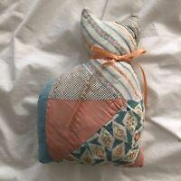 VINTAGE Handmade Patchwork Minimal Cat Shaped Mini Quilt Pillow Pink Blue