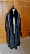 Chosen Couture black Lambskin Leather/fox fur Full Length Coat XL  $1399 NWT