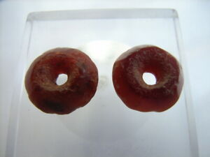 2 Ancient Roman Faceted Red Jasper Beads Romans VERY RARE!  TOP !!