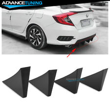 Universal Fit Rear Bumper Lip Diffuser Shark Fins Black 4Pc Set - ABS