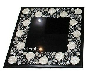 16 Inches Marble Coffee Table Top Inlay Bed Side Table with Mother of Pearl Art