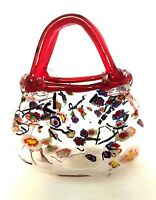 """Art Glass Basket Hand Painted Floral Red Handles Mouth Blown 8"""" Tall"""