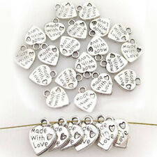 Lot 100 Silver Tibet Plated MADE WITH LOVE Heart Charms 0.35
